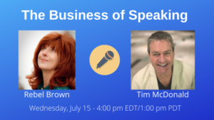 Rebel Brown on The Business of Speaking Show with date and time