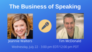 Jeannie Walters on The Business of Speaking Show with date and time