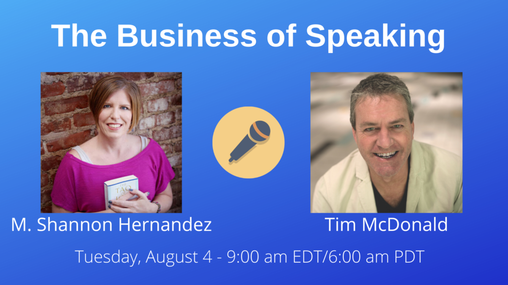 Photos of M. Shannon Hernandez and Tim Mcdonald with date and time for The Business of Speaking Show