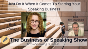 Title card for The Business of Speaking Show with Beth Granger showing small boy looking at first stair of staircase
