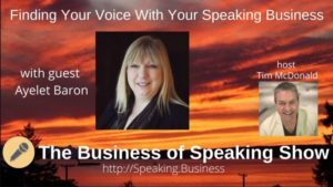 Ayelet Baron on Business of Speaking Show with sunset in background