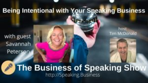 Title card for Savannah Peterson on The Business of Speaking Show